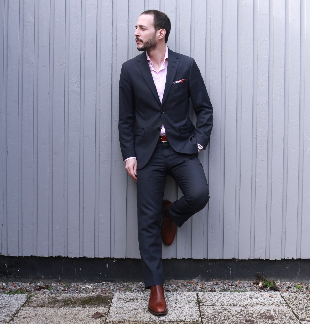 Blue Suit Pink Shirt Brown Chelsea Boots