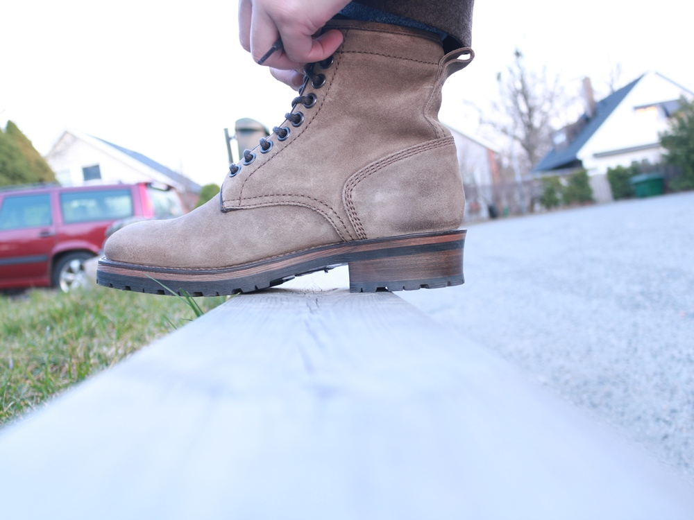 Project TWLV Royal Logger Boot in Sand Suede Wear