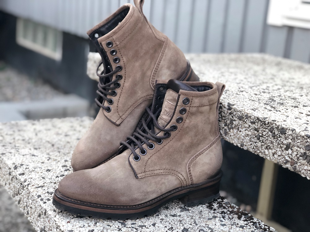 Project TWLV Royal Logger Boot in Sand Suede Side Shot