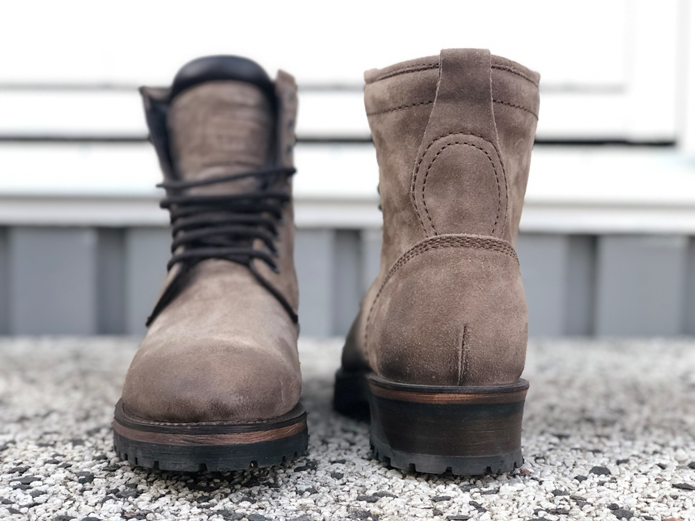 Project TWLV Review - Royal Logger Boot in Sand Suede Front and Back