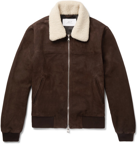Mr. Porter Chocolate Suede Shearling Bomber Jacket