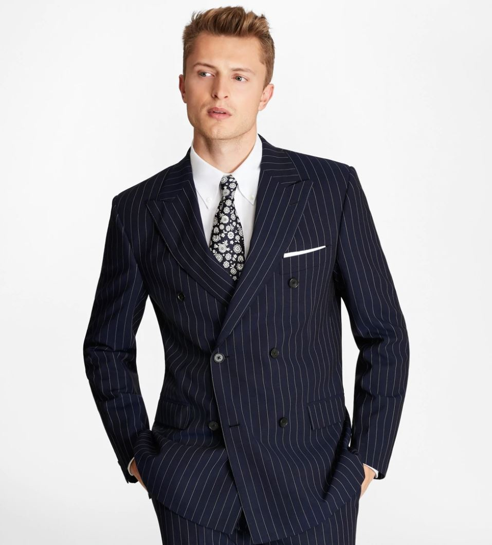 Brooks Brothers Navy Double Breasted Pinstripe Suit