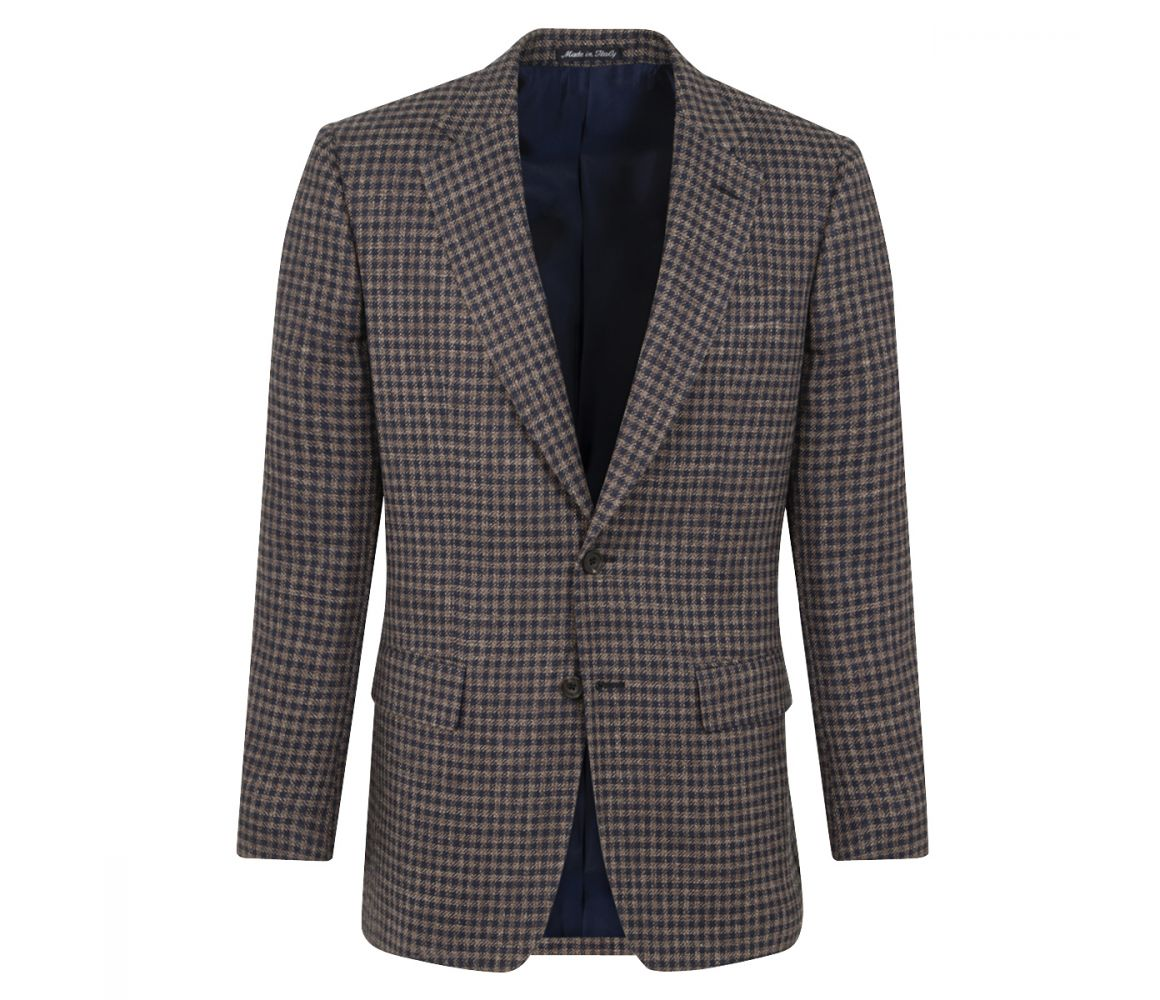 Chester Barrie Navy and Brown Linen Jacket