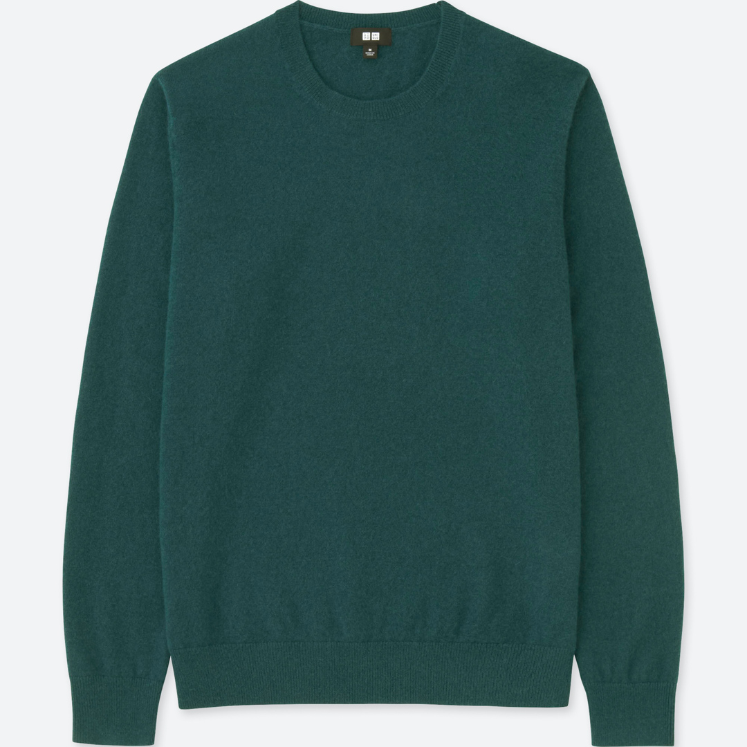 Uniqlo Dark Green Crew Neck Cashmere Sweater