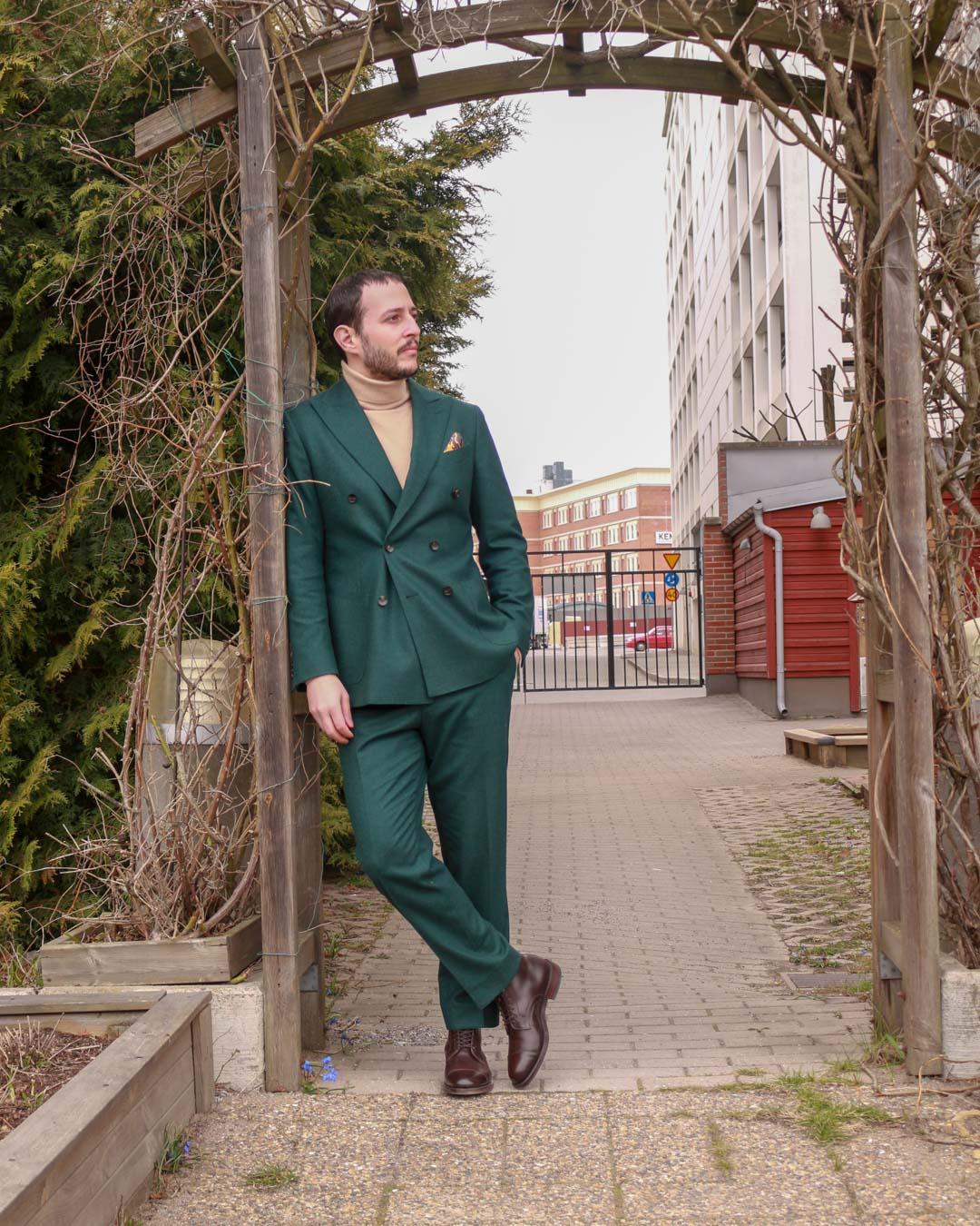 Soft Goat Turtleneck in Green Suit