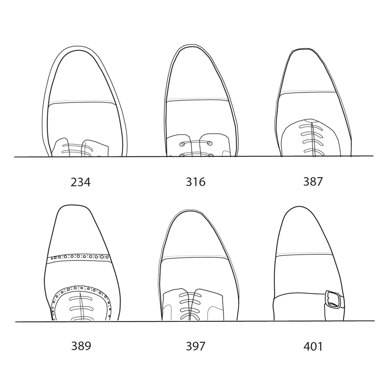 A visual comparison of Carlos Santos Lasts available at The Noble Shoe