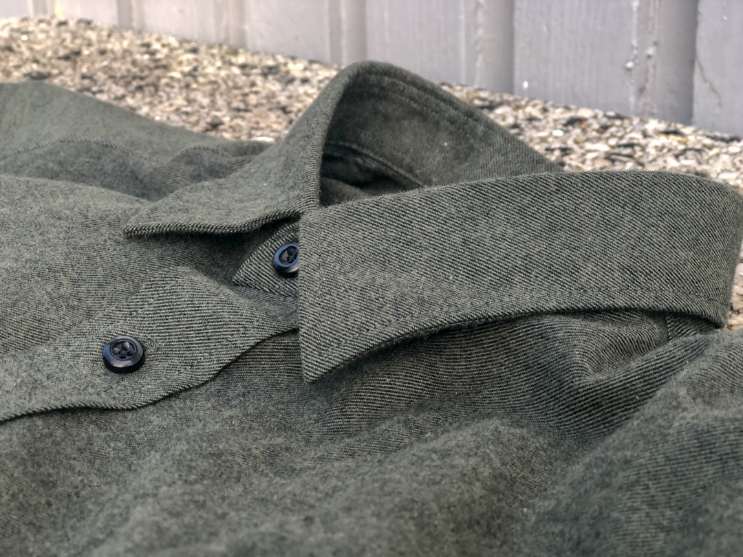MatchU Tailor Shirt Review - Olive Green Flannel close up