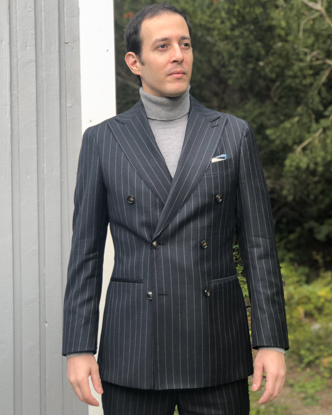 Pinstripe Suit and Turtleneck