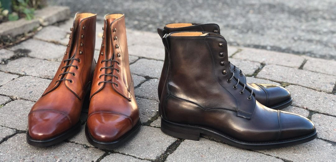 Carlos Santos GMTO Field Boot in 2 Patinas for the Noble Shoe IG