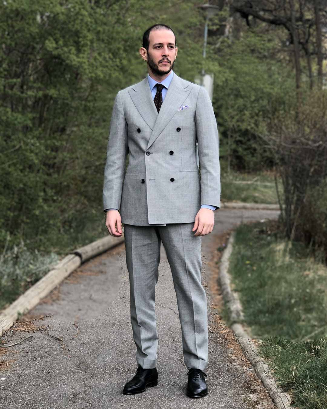 Suitsupply Light Grey Suit and Black Shoes