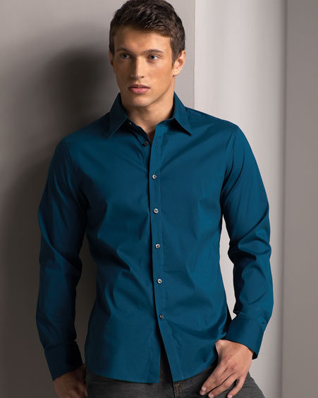 how many shirts should a man have - teal shirt