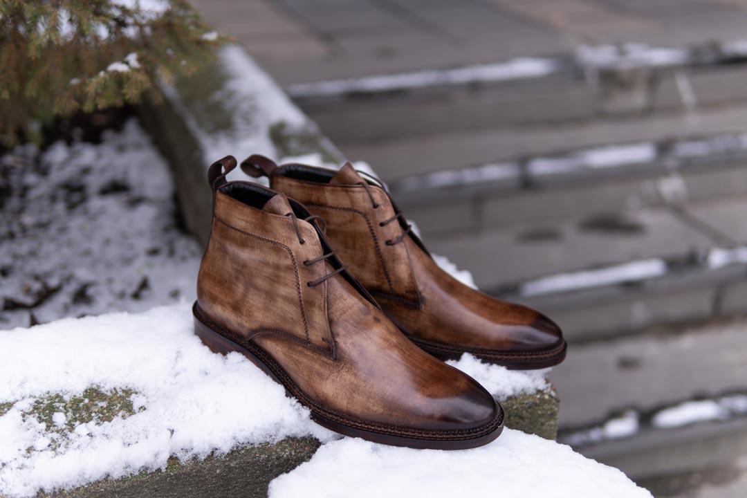 chukka boots in brown patina