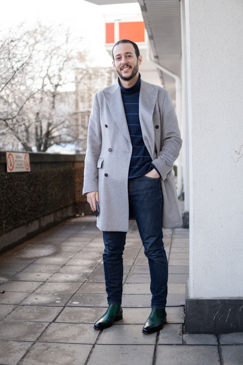 grey overcoat and jeans