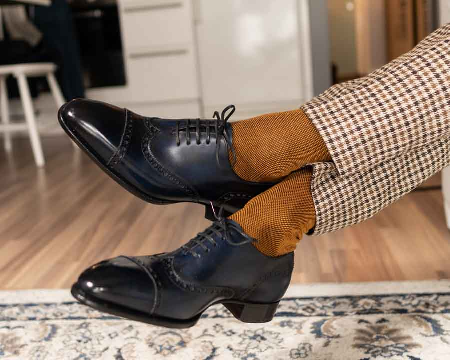 Brown Socks Blue Shoes