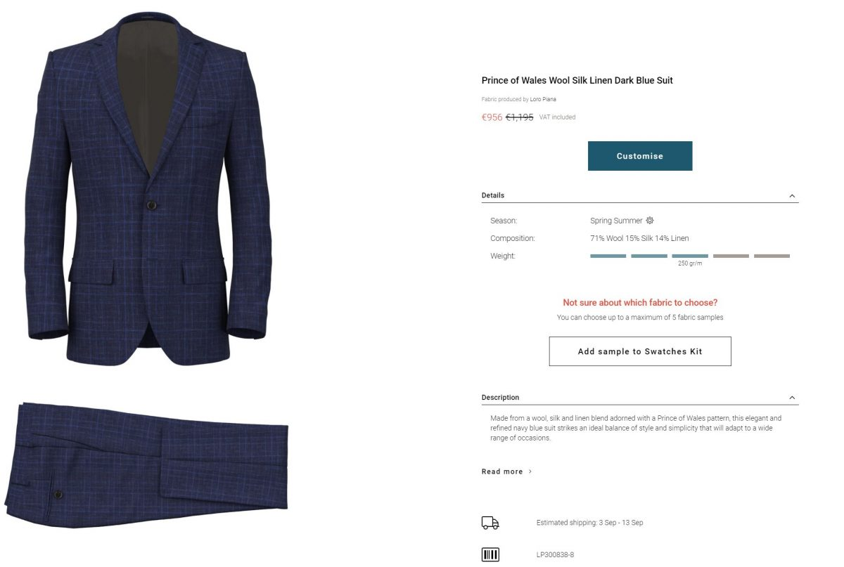 Suitsupply Alternatives - A lovely wool/silk/linen blend Prince of Wales Suit by Lanieri