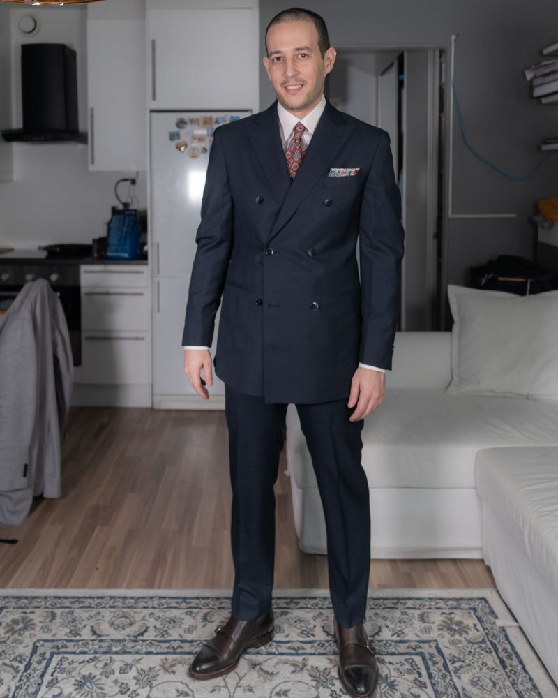 double breasted suit navy